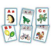 Planse didactice. Alfabetul (32 de planse cu toate literele alfabetului, de tipar si de mana)
