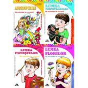 Set de 4 carti pentru colorat. Anotimpurile, Lumea povestilor, Lumea florilor, Lumea vietuitoarelor