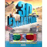 Excavatoare 3D - Carte cu teste si abtibilduri