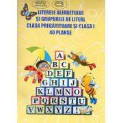 Literele Alfabetului si grupurile de litere. Clasa pregatitoare si clasa I - 40 de planse (Conform programa)
