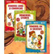 Set de 3 caiete pentru gradinita, nivel 3-4 ani. Domeniul, limba si comunicare, Stiinte, Om si societate (Editia, 2014)