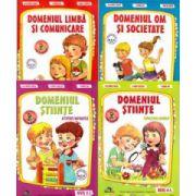 Set de 4 caiete pentru gradinita, nivel 4-5 ani. Domeniul, Limba si comunicare, Om si societate, Stiinte (activitate matematica), Stiinte (cunoasterea mediului), Editia 2014
