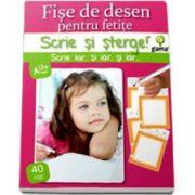 Scrie si Sterge! Fise de desen pentru fetite, 40 de fise - Varsta recomandata 3-7 ani