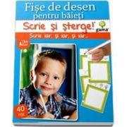 Scrie si Sterge! Fise de desen pentru baieti, 40 de fise - Varsta recomandata 3-7 ani