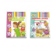 Set de 2 caiete pentru gradinita, nivel 5-6 ani. Domeniul Limba si Comunicare, Domeniul Stiinte - Cunoasterea Mediului si Activitate Matematica - Editia 2015