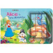 Alice in Tara Minunilor. Cubopuzzle - Carte si 12 cuburi