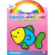 Animalele 1. Peste. Lipeste, coloreaza si invata - Varsta recomandata 3-6 ani