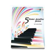 Cinci teme pentru pian cu CD. Partituri pian si percutie - pian 2 maini