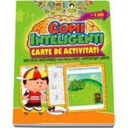 Jocuri pentru copii inteligenti, 4 ani. Carte de activitati - Uneste punctele, gaseste diferentele, alege perechile potrivite, cuvinte incrucisate, labirinturi