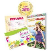 Pachet de baza pentru clasa a IV-a - Caiet de vacanta cu diploma, medalie si caiet cu jocuri amuzante