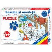 Puzzle - Soarele si omuletii de zapada - Contine 60 piese