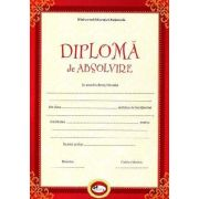 Diploma - Format A4, model absolvire, rosu