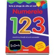 Scrie si sterge de cate ori vrei! Numerele 123. Joaca-te si invata sa scrii numerele! - Varsta recomandata 5 ani +