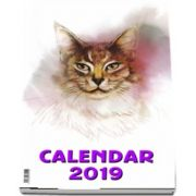 Calendar de perete cu spira 2019 - Imagini cu Pisici