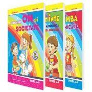 Set de 3 caiete pentru gradinita, nivel 3-4 ani - Editia 2018. Domeniul, limba si comunicare, Stiinte (Activitate Matematica, Cunoasterea Mediului), Om si societate