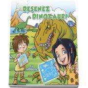 Desenez dinozauri - cu sabloane