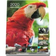 Calendar 2020 de perete cu animale si pasari - Cu spira alba si agatatoare