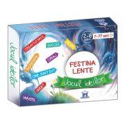 Festina Lente - Jocul Ideilor - 130 de jetoane mici, 23 de jetoane mari, regulament, plansa, carioca, clepsidra si zar.
