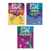Pachet Roald Dahl, 3 volume. Charlie si Fabrica de Ciocolata, Charlie si Marele Ascensor de Sticla si Vrajitoarele