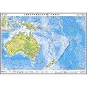 Australia si Oceania. Harta fizica 1400x1000 mm