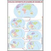 Plansa Evolutia continentelor si bazinelor oceanelor. Relieful major al continentelor si bazinelor oceanelor