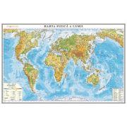 Harta fizica a lumii. Harta de contur, 500x350 mm, fara sipci