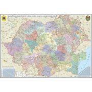 Romania si Republica Moldova. Harta  administrativa, fara sipci (1000x700 mm)