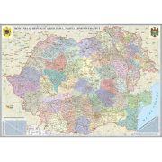 Romania si Republica Moldova.Harta administrativa, fara sipci (2000x1400 mm)