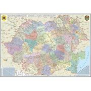 Romania si Republica Moldova. Harta administrativa, fara sipci (700x500mm)