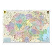 Romania si Republica Moldova. Harta administrativa /Harta de contur (verso),500x350mm, fara sipci