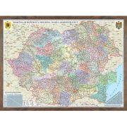 Romania si Republica Moldova. Harta administrativa model 3D, 600x470mm