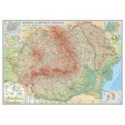 Romania si Republica Moldova. Harta fizica, administrativa si a substantelor minerale utile, fara sipci