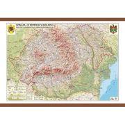 Romania si Republica Moldova. Harta fizica, administrativa si a substantelor minerale utile 1600x1200 mm