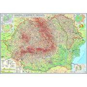 Romania si Republica Moldova. Harta fizica, administrativa si a substantelor minerale utile 2000x1400 mm