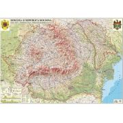 Romania si Republica Moldova. Harta fizica, administrativa si a substantelor minerale utile 3500x2400 mm