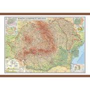 Romania si Republica Moldova. Harta fizica, administrativa si a substantelor minerale utile 700x500 mm