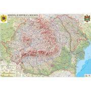 Romania si Republica Moldova.Harta fizica, administrativa si a substantelor minerale utile. Harta de contur, 500x350 mm, fara sipci