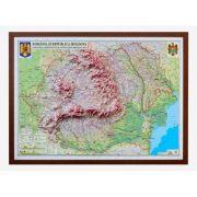 Romania si Republica Moldova. Harta fizica, administrativa si a substantelor minerale utile, model 3D, 1000x700mm