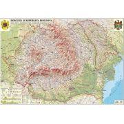 Romania si Republica Moldova.Harta fizica, administrativa si a substantelor minerale utile.