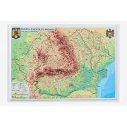 Romania si Republica Moldova. Harta fizica si administrativa model 3D, 450x330mm