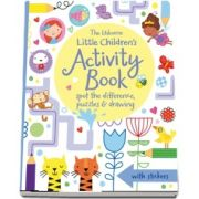 Little childrens activity book: spot the difference, puzzles and drawing