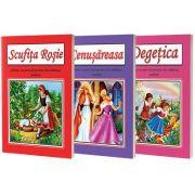Pachet cu 3 seturi de planse pentru dezvoltarea vorbirii - Scufita Rosie, Cenusareasa, Degetica