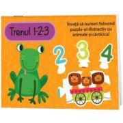 Trenul 1-2-3, Set carte si puzzle, Louise Buckens, Prior