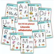 Literele alfabetului - set 40 de planse didactice pentru clasa pregatitoare si pentru clasa I