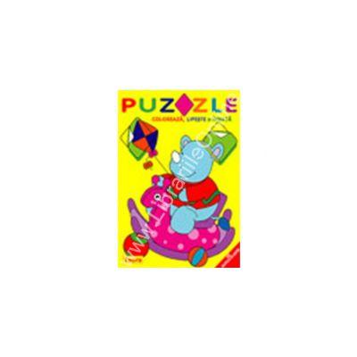 Puzzle - Coloreaza, lipeste si invata. Rombul