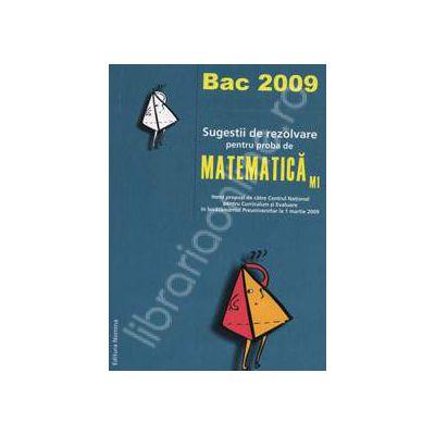 Bacalaureat 2009. Sugestii de rezolvare pentru proba de Matematica M1