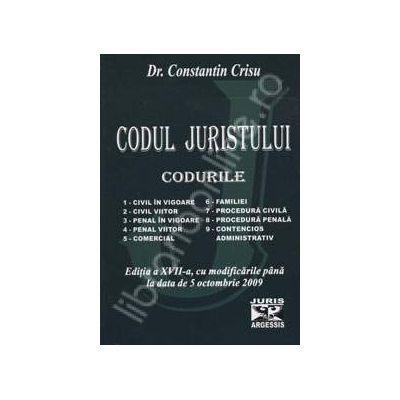 Codul juristului (CODURILE). Editia a XVII-a, cu modificarile pana la data de 5 octombrie 2009