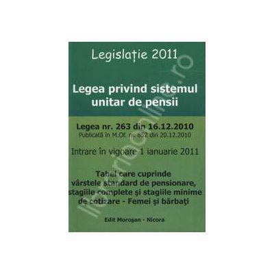 Legea privind sistemul de pensii (Intrare in vigoare 1 ianuarie 2011)