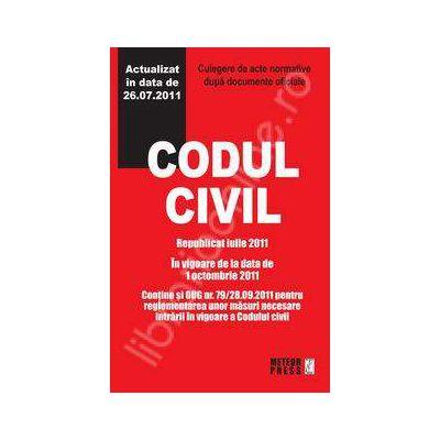 Codul civil republicat octombrie 2011. Culegere de acte normative
