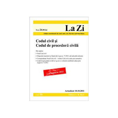 Codul civil si Codul de procedura civila (actualizata la data de 10 octombrie 2011)